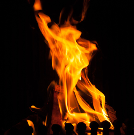 Hot fire in the house Stock Photo