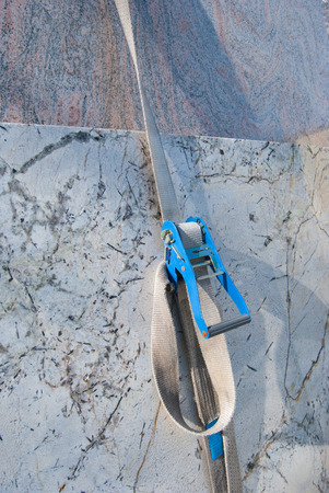 Marble slabs stored in the quarry in Carrara - Italy Stock Photo
