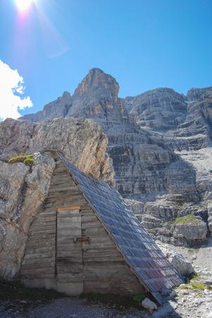 Trekking around Dolomites mountains - site Trentino Alto Adige Stock Photo