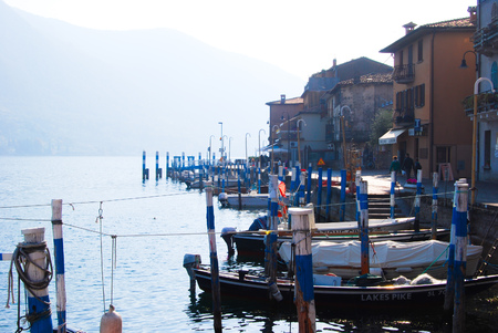 Little docking in the Montisola island in the middle of Iseo Lake - Italy Editorial
