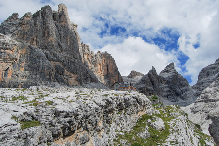 Trekking in the  around Dolomites mountains - site Trentino Alto Adige Stock Photo