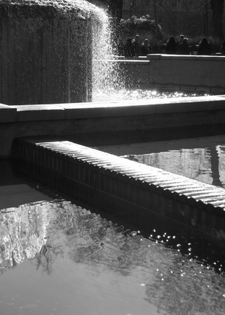 Fountain in Milan with two tanks of water Imagens