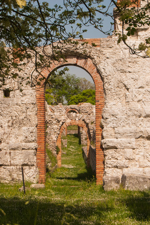 Three arches of an ancient Roman theater still well preserved