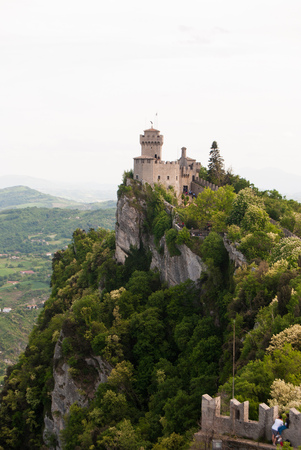 Cesta tower on the top of the ness with panorama from Guaita tower in San Marino