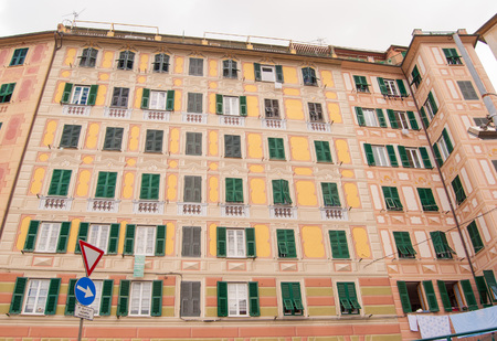 Typical house with six floors in Camogli