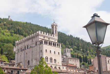 View of Town Hall in the medieval city of Gubbio from San Giuliano district