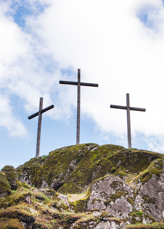 Crosses on the top of a mountain Фото со стока