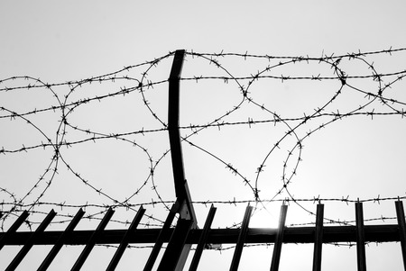 Metal barbed wire of an enclosure military zone Imagens