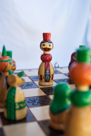 Drawing russian king pawn during a chess match