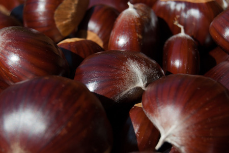 Many brown chestnuts close to each other Imagens