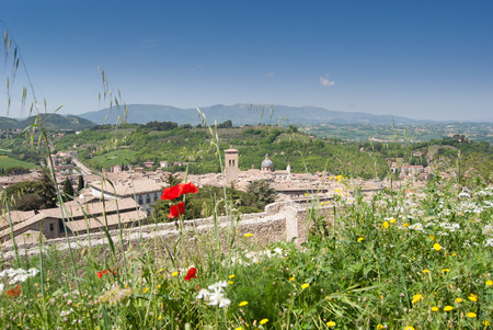 View on the city and on the cultivated fields of the hills of the city of Spoleto near Norcia in Umbria