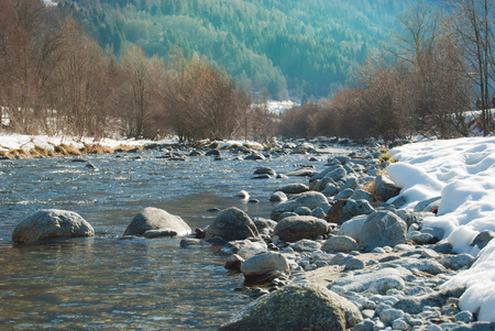 River in the midst of  the Rendena valley in Pinzolo area a little town close to Madonna di Campiglio