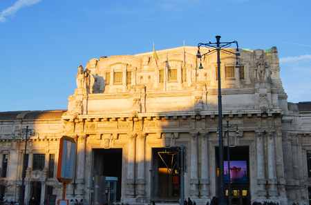 Main entry of the trains station building during the sunset