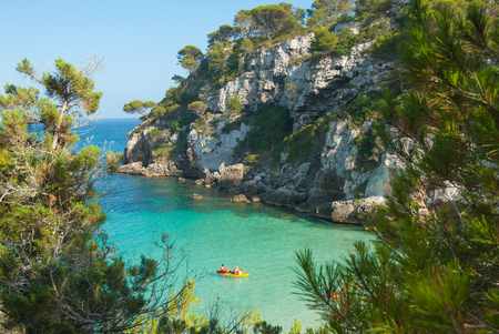 Overview on one of the most famous beach of Minorca Spainish island 스톡 콘텐츠