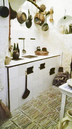 Characteristic white kitchen of houses of Matera also called City of the stones and European Capital of Culture 2019