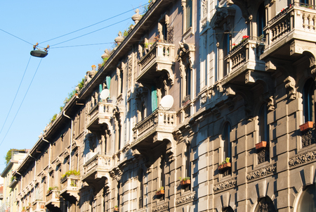 View on some details of characteristic buildings in Milan to the north of Italy 스톡 콘텐츠