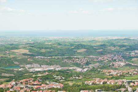 Panoramic view on the cultivated fields and hills of the center of Italy