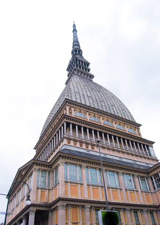 Upper part of the old monumental building in Torino in northern Italy