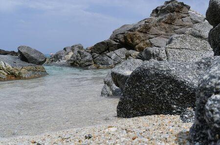 Italian Mediterranean sea seen from the beach at the same sea level