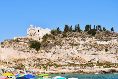 Church on a little peninsula of earth on the mediterranean sea in Calabria