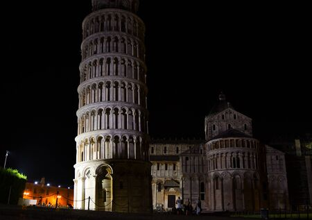 White tower pendent in Miracles Square in the darkness of the night and illuminated by light Stock Photo - 132077750