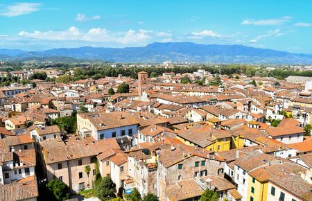 Panorama on roofs and hills seen from Guinigi tower in a sunny day