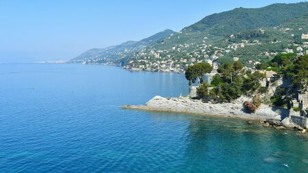 Sequence of promontories and inlets on the sea from Camogli to Genoa area in the north of Italy 스톡 콘텐츠
