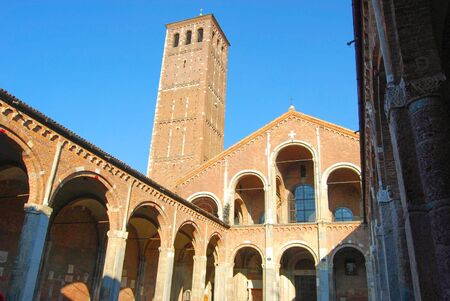 Main entrance of the Romanesque style Catholic church of Sant Ambrogio di Milano in northern Italy