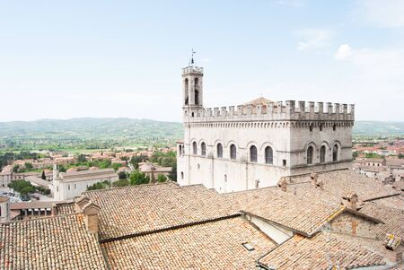 View on Town Hall of medieval city of Gubbio and hills around 스톡 콘텐츠
