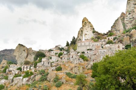 Hidden and camouflaged ghost town in the mountains in the south of Italy