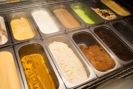 Own production of different flavors of ice creams in an italian shop