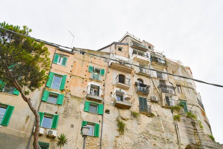 Scenic and characteristic buildings on the cliff of one of the most famous cities in the south of Italy 스톡 콘텐츠
