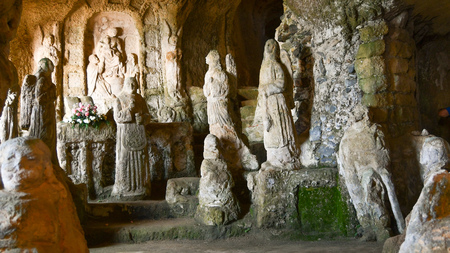 Fascinating and ancient place with Christian sculptures in Calabria in the south of Italy