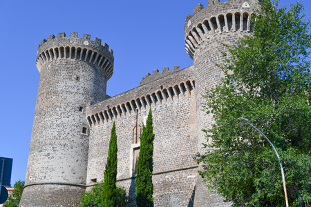 Ancient building with two towers close to Rome in Lazio in a beautiful day 에디토리얼