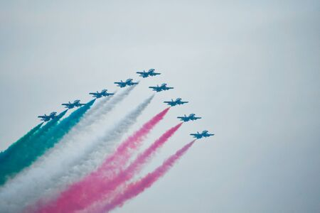 Nine Tricolor Arrows in the air during a day with a little fog