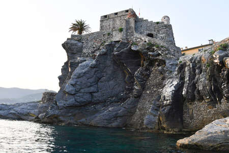 Scenic view of the ancient Dragon Castle in the small fishing village near Genoa in Italy