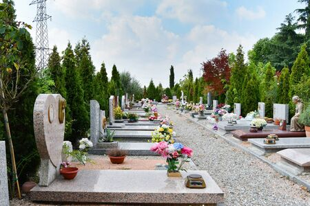 Large overview of part of a cemetery with flowers and decorative trees and statues