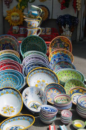 Colorfull ceramics  exposed outside of a souvenirs shops