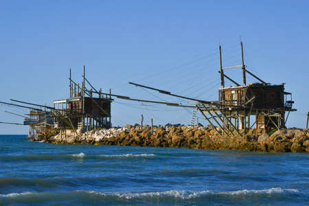 Construction for fishing called Trabucco during the ancient sunset technique for fishing on the Adriatic Sea of Vasto in central Italy recognized as an Italian monumental heritage