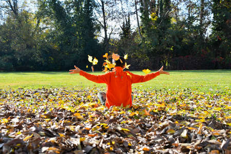 Child sitting in a bed of autumn leaves and throws them into the air on a sunny day 스톡 콘텐츠