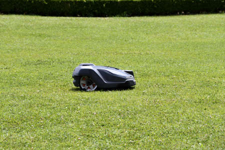 Black and white robot cutting grass in an English lawn