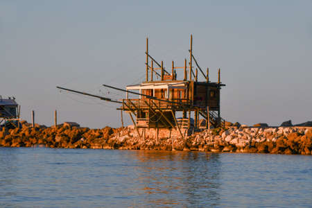 Construction for fishing called Trabucco during the ancient technique for fishing on the Adriatic Sea of Vasto in central Italy recognized as an Italian monumental heritage