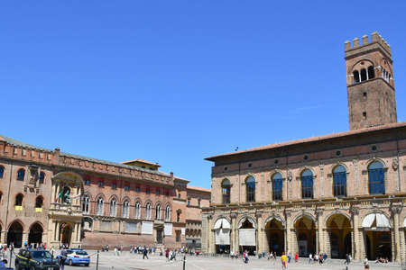 Piazza Maggiore with medieval palaces in Emilia-Romagna, italy