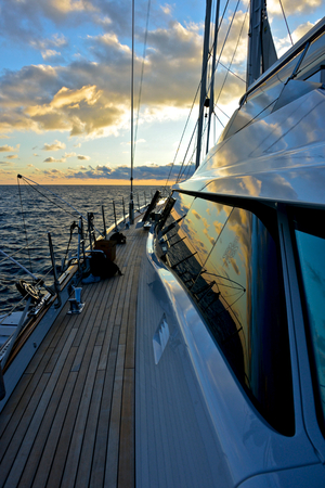 detail of deck of luxury sailing yacht at the sunset Stok Fotoğraf