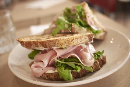 Sandwich with mortadella Stock Photo