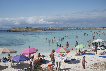 Formentera, Spain - September 01, 2016: view of Platja de ses Illetes