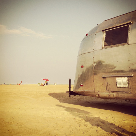Jesolo, Italy - July 15, 2013 : streamline caravan at the beach