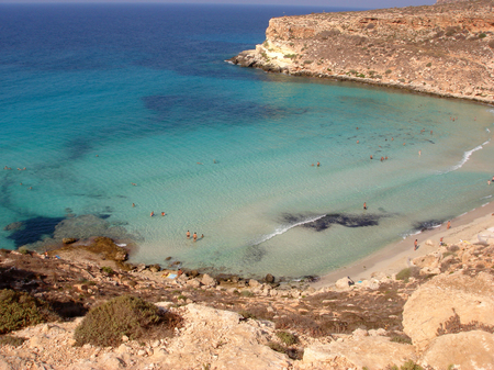 Lampedusa, Sicily - September 03, 2009: View of Rabbits beach from above