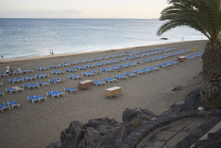 Lanzarote, Canary Islands, Spain - August 19, 2015 : View of Puerto del Carmen beach