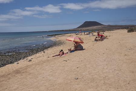 Lanzarote, Spain - August 26, 2015 : Playa del salado beach in La Graciosa island